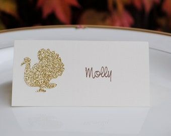 Glittered Gold Turkey Thanksgiving Place Cards-set of 10