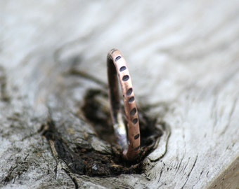 Slender stackable Copper Ring, notched copper band, Round Oxidized Copper Ring, Your size ,Unique Copper Rings, Earthy Copper Rings, Unisex