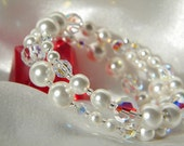 Clear AB swarovski crystal and pearl bracelet memory wire, bridal, bride