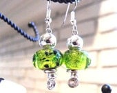 Green Foiled Glass Earrings - Womens, Dangle, Green & Silver, Bright Green, Green Earrings, Unique, Ready to Ship, Sale - Now Marked 40% OFF