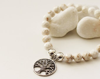 Tree of Life Bracelet. Howlite (VBL-09)