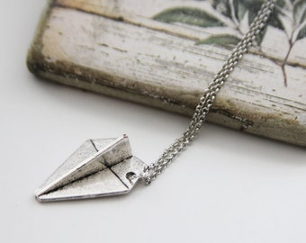 Whimsy Paper Plane Necklace. Antique Silver. Unique Gift. Unisex Gift (SNL-60)