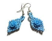 Cute Sky Blue Rose Earrings - On Silver Plated Hooks or Clip Ons
