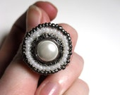 Pretty Pearl Button Adjustable Ring Beaded With White and Silver Seed Beads