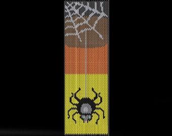 Halloween Bracelet Bead Pattern - Dangle Spider Peyote or Brick Stitch Bracelet Beading Design in a Full-Color Chart - Printable PDF Patter