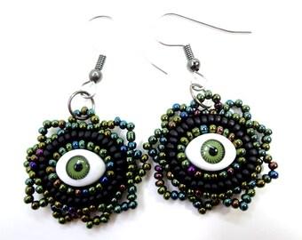 Gothic Jewelry: Black and Green Evil Eye Earrings