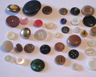 BUTTONS over 50 Vintage Sewing Crafting Buttons