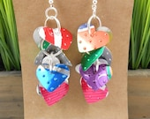 Valentine Sweetheart Earrings.  Recycled Soda Can Art.  Rainbow