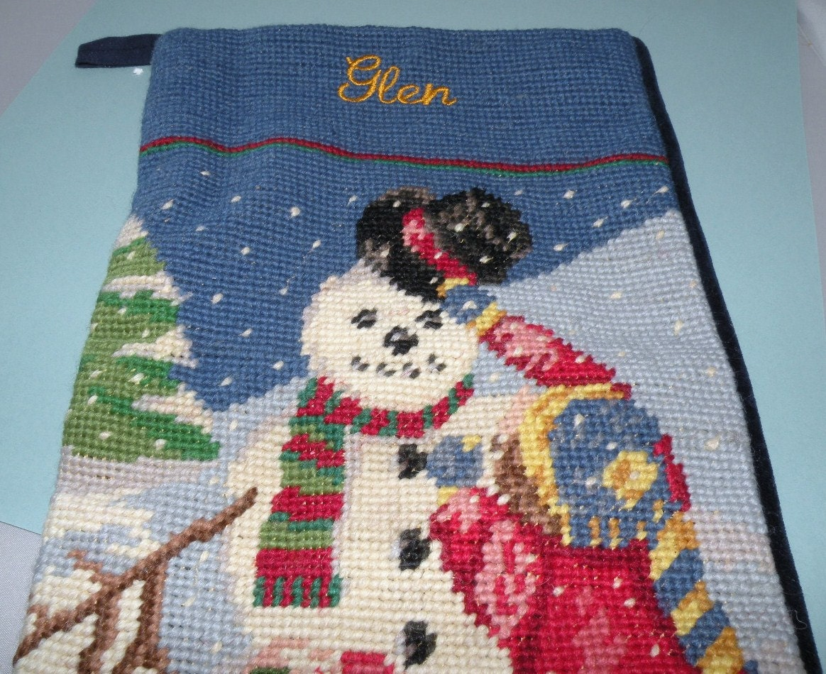 Vintage Needlepoint Christmas Stocking Monogramed Glen