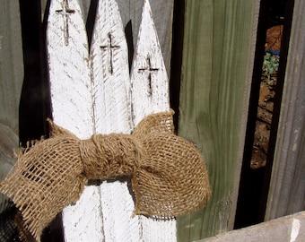 Churches-Distressed w/burlap ribbon