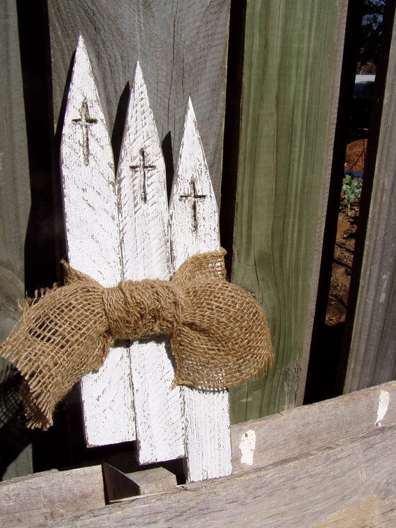Churches-Distressed w/burlap ribbon