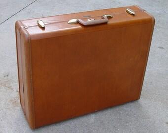 Vintage Brown Leather Suitcase Large by Samsonite Shwayder Brothers Inc. Denver, CO
