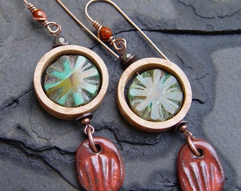 Handmade Bird's Eye Maple Rings, Czech Glass and Stoneware Dangle Earrings Boho Bohemian Gypsy