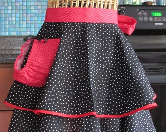 Black Polka Dot Flirty Half Apron with two layers and trimmed with red