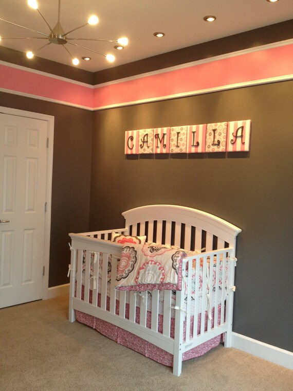 Items similar to nursery letters wall letters pink and for Red and brown walls