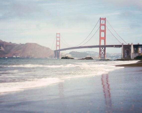 Bakers Beach- San Francisco, Beach Photography, Golden Gate Bridge, Northern California, Bay Area, California, Blue Grey, Wall Art