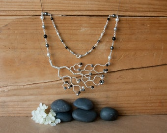 Hand Twisted Tree Necklace in Black Pearl