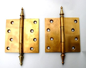 Vintage Brass Hinges / Heavy 5x5 Brass Hinges Steeple Tip