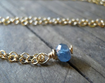 Tiny Blue Sapphire Necklace, Minimalist Necklace, Simple Necklace, Blue Necklace, Gold September Birthstone Necklace, Spring Cleaning, Gift