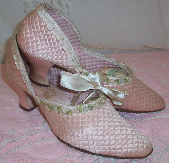 Reserved for BethBeeman3.....ANTIQUE/Edwardian Pink SILK Shoes/Slippers w/ RIBBON Rosette Trim...Sale