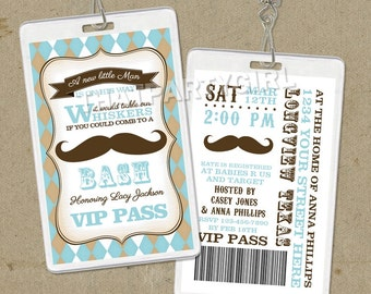 12 Vintage inspired Mustache Bash Party VIP PASS Style Invitations