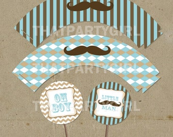 Vintage Inspired Mustache Bash Party Cup Cake Wrappers and Toppers - DIY digital U Print