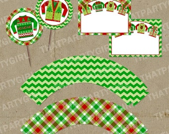 Ugly Sweater Holiday Party Cup Cake Wraps Toppers Food Labels - DIY INSTANT DOWNLOAD