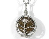 The Itty Bitty Tiger's Eye Tree of Life Necklace.