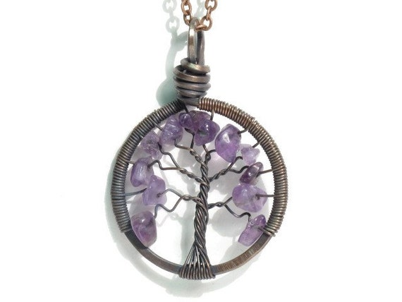 The Wisteria Tree of Life Necklace in Antique Copper and Amethyst Stone.