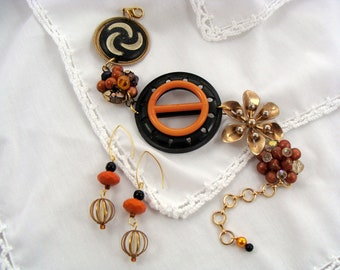 Vintage Salvaged Jewelry Assemblage Bracelet: Harvest Edition - ReaganJuel