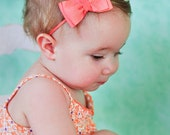 Coral Ribbon Bow Headbanbd. Coral Salmon Baby Bow Headband. Infant, Baby Toddler, Girls Bow Soft Stretchy Headband.  Free Ship Promo