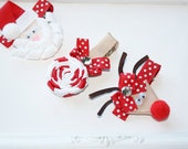 Christmas Bows. Holiday Trio Set. Santa, Rudolph Red Nose Reindeer, Peppermint Candy Bows.  Free Ship Promo.