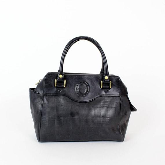 black speedy style bag / faux leather structured handbag