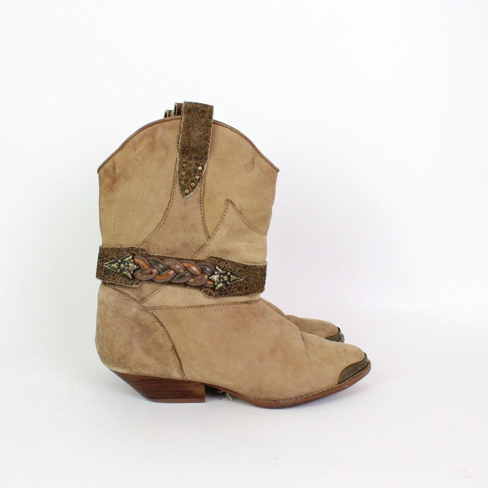 cowboy ankle boots 6 western leather braided harness by