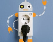 Little Robot Switchplate Electric Outlet Wall Sticker Removable SCS249