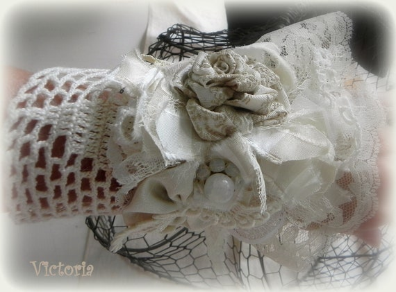 Romantic Shabby White and Cream lace, crochet and fabric wrist cuff bracelet with rosette..Victoria..