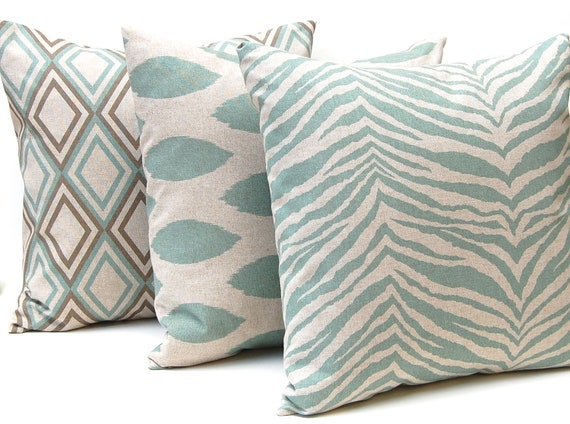 Etsy Throw Pillow Sets : Items similar to Decorative Throw Pillow Covers for 20 x 20 Pillows Cushion Covers Seafoam Green ...