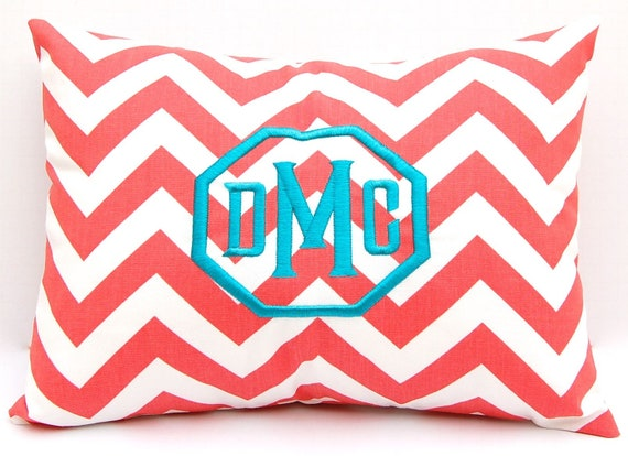 MEMORIAL DAY SALE Monogrammed Coral Chevron Pillow Cover Monogram With Insert Embroidered Monogram 12 x 16 Personalized Gift Housewarming B