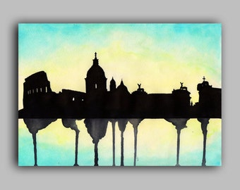 "Rome Skyline Watercolour Print 8"" x 11.5"" (A4) - Paint the Moment"