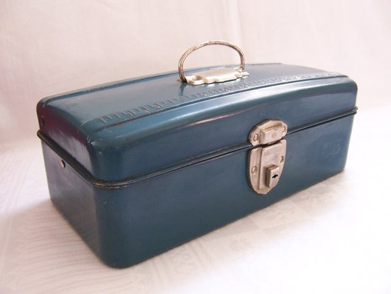 Vintage Teal Blue Metal Tackle Box  -  Industrial Chic - Union Steel Chest Corp.