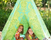 READY TO SHIP! - Child Toddler Kid's Play Teepee/Tent Hideaway in Amy Butler Love Sandlewood Turquoise