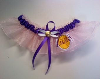 Single los angeles lakers organza toss Wedding Garter set any size, color or style.