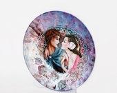Decorative Plate love -Lovely  Wedding Gift   (Decoupage Under Glass  )