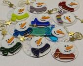Fused Glass Snowman Ornament