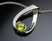 peridot necklace, Mother's day, gemstone jewelry, August birthstone, silver pendant, eco-friendly, Argentium silver, artisan jewelry - 3470