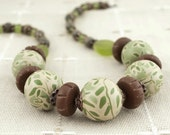 OOAK Green and Brown Woodland Necklace with Branches and Leaves - Nature Jewelry, Forest Jewelry
