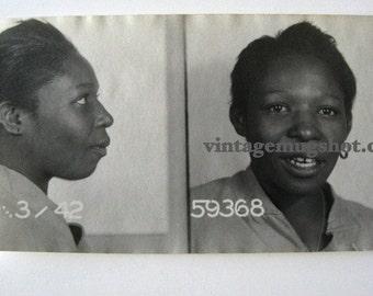 1942 BAD GIRL Booking Photo  Mug Shot Original Photo Gap Toothed Woman