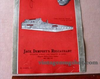 Jack Dempsey Restaurant Menu 1935 New York Boxer Boxing