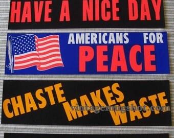 60's FIVE Peace BUMPER STICKERS Hippie L2 Vietnam Era Excellet Unused