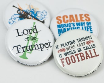 Trumpet Pinback Buttons or Magnets - size one inch - TPT 6